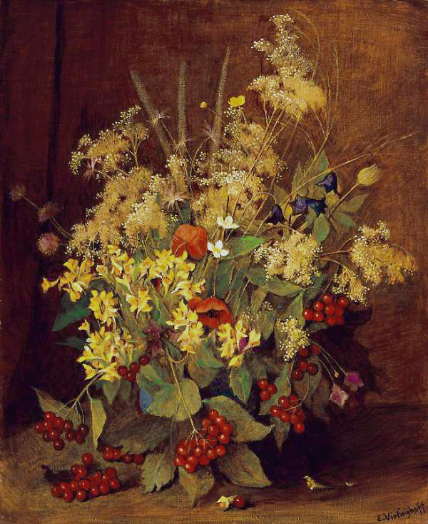Bellflowers, meadowsweet, toadflax, red berries bouquet